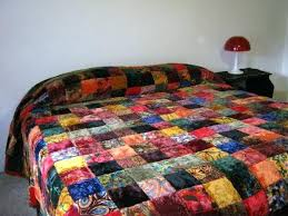 Bohemian Bed Quilts Bohemian Bed Comforter Reserved For Shannon ... & Bohemian Bed Quilts Bohemian Bed Comforter Reserved For Shannon Vintage 70s  Hippie Boho Velvet Patchwork Quilted Adamdwight.com