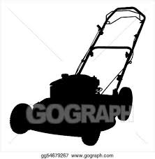 lawnmower drawing. stock illustration - an of a lawnmower silhouette on white background. clipart drawing gg54679267
