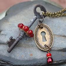 custom made skeleton key necklace steampunk jewelry boro lampwork glass beaded pendant red