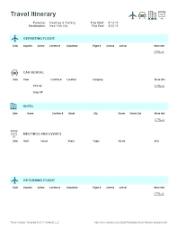 Word Travel Itinerary Template A Business Travel Itinerary Template Excel And Word Free