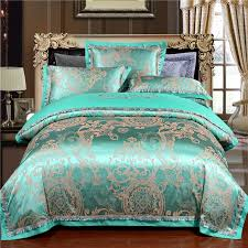 emerald green and gold indian inspired exotic bohemian style royalty luxury jacquard satin full queen size bedding sets