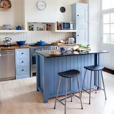 small kitchen furniture. Small Kitchen With Island Unit, Blue Walls Fittings And White Furniture