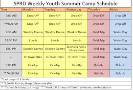 Summer Camp Weekly Schedule 2017 Youth Summer Camp Weekly Schedule General Sisters Park