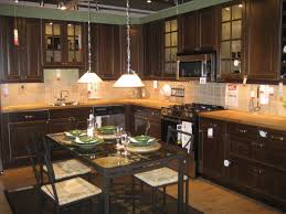 L Shaped Brown Kitchen Cabinets Designs For Small Kitchens With - Dark brown kitchen cabinets