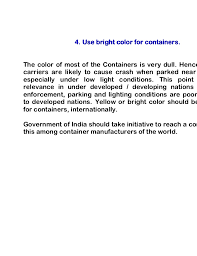 simple road safety suggestions document 4 containers