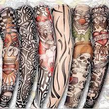 поддельные временные татуировки рукава татуировки полный длинный скольжения на
