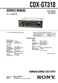 sony cdx gt310 service manual cdx gt310 sony car audio service manual repair manual
