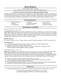 Nobby Electrical Maintenance Technician Resume Exquisite Sample Free