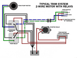 common outboard motor trim and tilt system wiring diagrams Marine Ignition Switch Wiring Diagram trim systems with 2 wire motor and relays mariner ignition switch wiring diagram