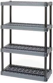 details about blue hawk plastic freestanding shelving unit garage storage heavy duty 4 tier