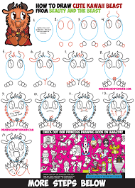 how to draw cute kawaii chibi beast from beauty and the beast easy steps drawing lesson