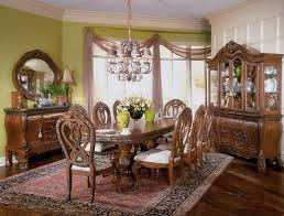 gorgeous carving on antique dining room furniture made of wood under stunning grey chandelier beautiful dining room furniture