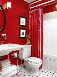 If you like red, this bathroom is for you!