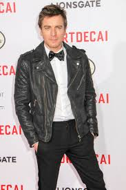 ewan mcgregor hits the red carpet for the premiere of mortdecai in a black leather biker