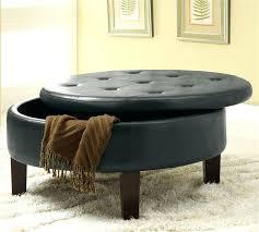 round black leather ottoman coffee table