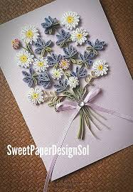 Paper Quilling Flower Bokeh Paper Quilling Art Lavender And Daisy Flower Bouquet Card