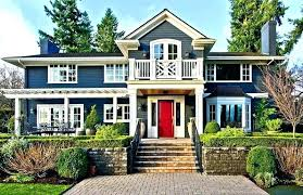 blue house white shutters grey house red door white white house blue shutters yellow door