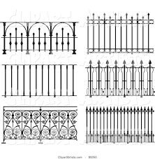 Digital Collage Of Ornate Wrought Iron Fencing Version 9 Clipart