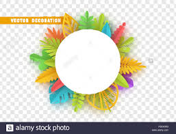 Paper Flower Frame Tropic Summer Background Palm Leaf Paper Flower White Frame With
