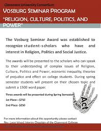 essay contest vosburg seminar program essay ldquo religion culture essay contest vosburg seminar program essay ldquoreligion culture politics and powerrdquo