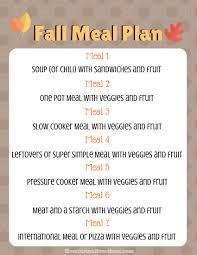 Autumn Dinner Menus Our Simple Fall Meal Plan Free Printable Feeding Our Flamingos