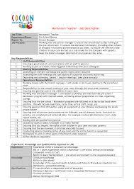 montessori teacher resume