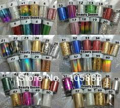 100 Colors MIXED GLITZY Nail Art Transfer Nail Foil Sticker Wrap ...