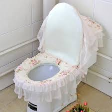 lace toilet seat cover in a three piece