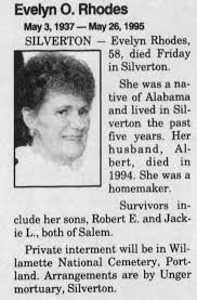 Obituary for Evelyn O. Rhodes, 1937-1995 (Aged 58) - Newspapers.com