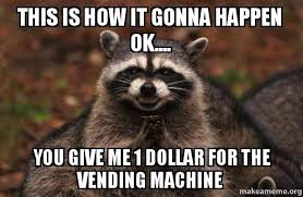 Raccoons In Vending Machine Unique This Is How It Gonna Happen Ok You Give Me 48 Dollar For The