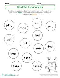 Long a worksheets and activities {no prep!} vowel sounds worksheets pack for middle sounds practice. Long Vowels Printable Worksheets Education Com