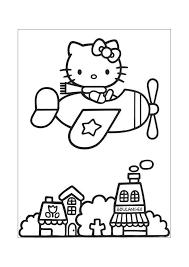 Hello Kitty In Het Vliegtuig Hello Kitty Kleurplaten Kleurplaatcom