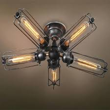 metal ceiling fan vintage industrial barn metal fans cage ceiling lamp flush mount steampunk hanging light
