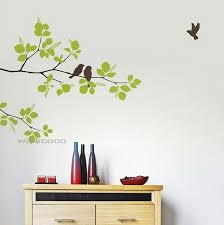 green leaf branch couple birds on branches stickers wall art birds wooden cupboard thre bootle cup on flight wall art with wall art simple design wall art birds small metal bird wall art