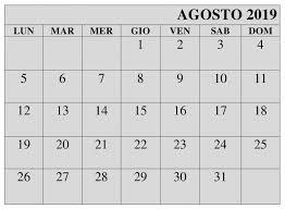 Calendario Agosto Grande 2019 Da Stampare Agosto Calendario 2019
