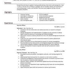 Security Guard Job Description Resume Template