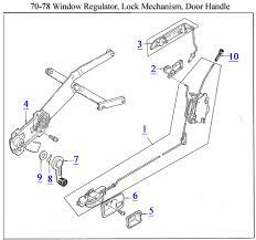 9 window crank handle 10 door lock pull