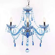3 light blue chandelier