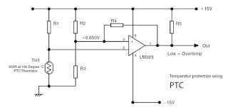 temperature protection using ptc and lm393 circuit wiring the ptc can be assembled into a circuit protection if high ambitient temperature tand automatically switchess off circuit like a schematic above