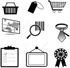 シルエット販売および商業材料アイコン コレクション セット