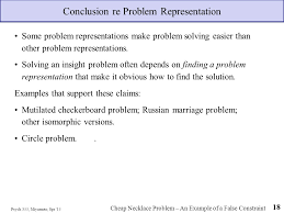introduction to problem solving psychology cognitive psych 355 miyamoto spr 15 18 conclusion re problem representation some problem representations make