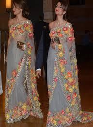 New Bollywood Designer Sarees Integral Grey Naylon Mono Net Bollywood Designer Saree