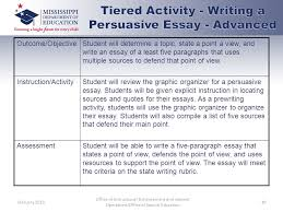 differentiated instruction what s different about that ppt  tiered activity writing a persuasive essay advanced