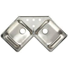 franke drop in stainless steel 43x23x8 4 hole 20 gauge double bowl kitchen corner sink fcr804bx the home depot