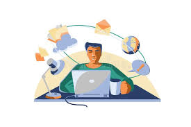 Computer User With Laptop And Cup Of Coffee Stock Vector - Illustration of  device, isolated: 173134460