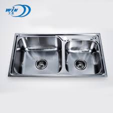 Free Standing Commercial Kitchen Sink Stainless Steel Double Sink