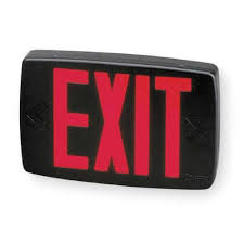 Lithonia Lighting Exit Signs Lithonia Lighting Quantum 1 Light Red Stencil 1 Watt Matte Black Integrated Led Exit Sign