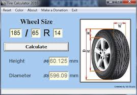 Plus Size Tire Chart Download Tire Calculator 2010 1 0 10 100