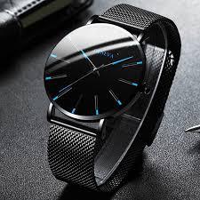 2020 Минималистская Мужская мода Ultra Тонкие часы Простые ...