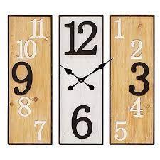 panel metal wood wall clock